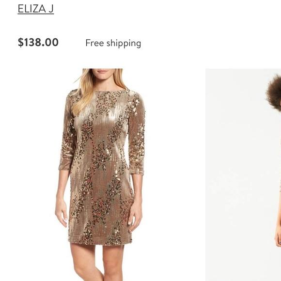 facbc53d Eliza J Dresses | E L I Z A J Gold Velvet And Sequin Dress | Poshmark